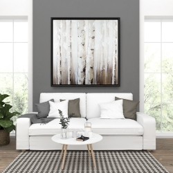 Framed 36 x 36 - Abstract white birches