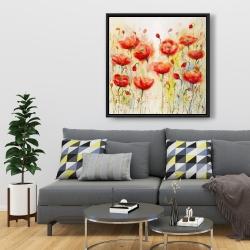 Framed 36 x 36 - Red flowers garden
