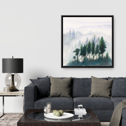Framed 36 x 36 - Mountains landscape in watercolor