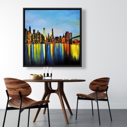 Framed 36 x 36 - City by night with a bridge