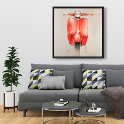 Framed 36 x 36 - Small red moped