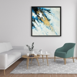 Framed 36 x 36 - Blue and gold marble