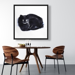 Framed 36 x 36 - Abstract watercolor cat