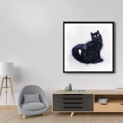 Framed 36 x 36 - Furry black watercolor cat