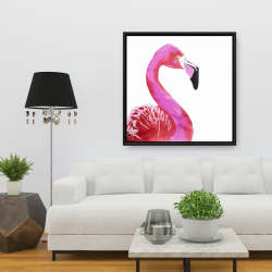 Framed 36 x 36 - Watercolor proud flamingo profile
