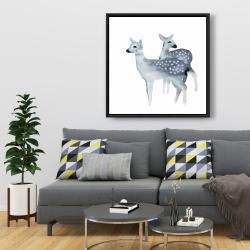 Framed 36 x 36 - Blue fawns