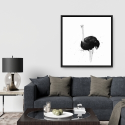 Framed 36 x 36 - Ostrich in watercolor
