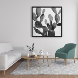 Framed 36 x 36 - Grayscale cactus