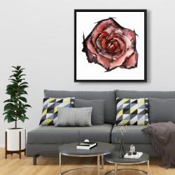 Framed 36 x 36 - Watercolor rose