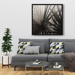Framed 36 x 36 - Sepia tropical plants