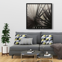 Framed 36 x 36 - Grayscale tropical plants