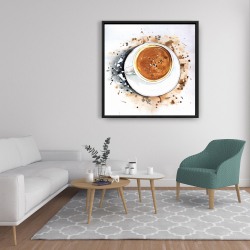 Framed 36 x 36 - Overhead view of a cappuccino cup