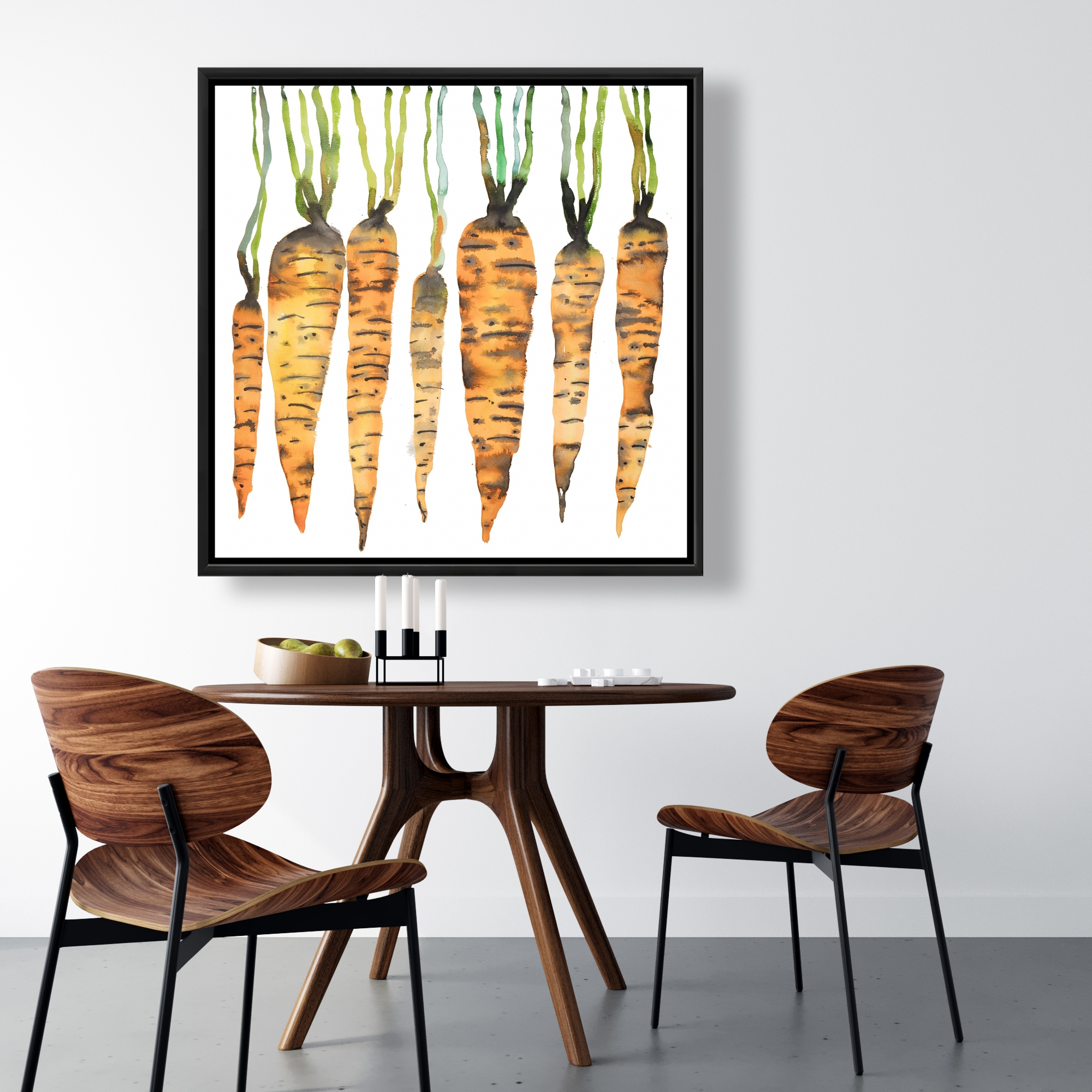 Framed 36 x 36 - Watercolor carrots