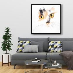 Framed 36 x 36 - Watercolor cat face closeup