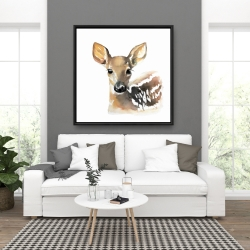 Framed 36 x 36 - Watercolor fawn face