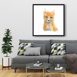 Framed 36 x 36 - Watercolor baby fox