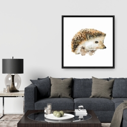 Framed 36 x 36 - Watercolor hedgehog