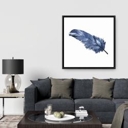 Framed 36 x 36 - Blue feather