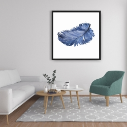 Framed 36 x 36 - Watercolor blue feather