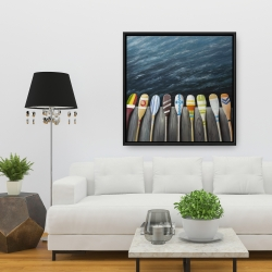 Framed 36 x 36 - Colorful paddles on the dock