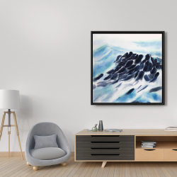 Framed 36 x 36 - Sea waves with paint splash