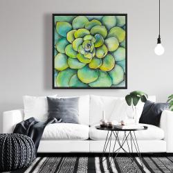 Framed 36 x 36 - Watercolor succulent plant