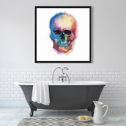 Framed 36 x 36 - Watercolor colorful skull