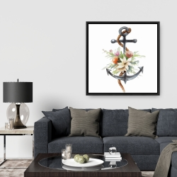 Framed 36 x 36 - Anchor with flowers
