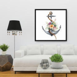 Framed 36 x 36 - Boat anchor with flowers