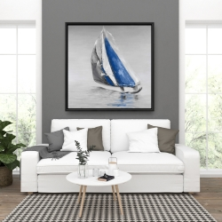 Framed 36 x 36 - Gray and blue boat sailing