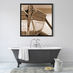 Framed 36 x 36 - Tied up rowing boat