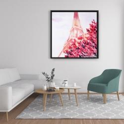 Framed 36 x 36 - Pink eiffel tower