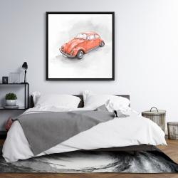 Framed 36 x 36 - Vintage red beetle