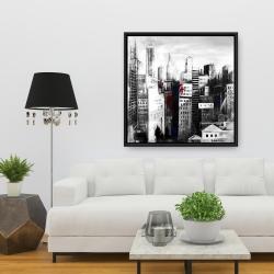Framed 36 x 36 - White city with paint splash