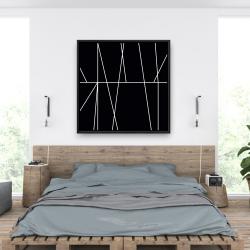 Framed 36 x 36 - White stripes on black background