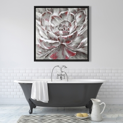 Framed 36 x 36 - Gray and pink flower