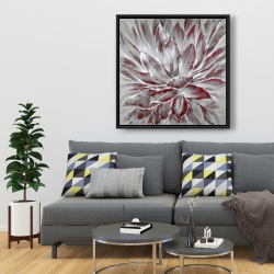 Framed 36 x 36 - Red and gray flower