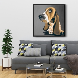 Framed 36 x 36 - Gold basset hound dog