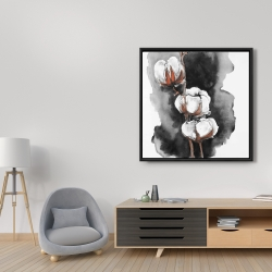 Framed 36 x 36 - Watercolor cotton flowers