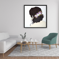Framed 36 x 36 - Woman from behind with pink flowers