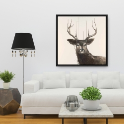 Framed 36 x 36 - Abstract deer