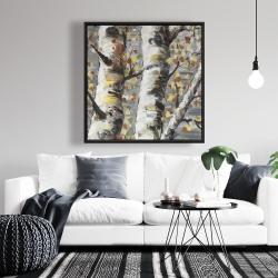 Framed 36 x 36 - Budding white birches 1