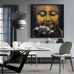 Framed 36 x 36 - The eternal smile of buddha and his lotus