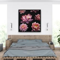 Framed 36 x 36 - Lotus flower pattern