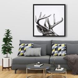 Framed 36 x 36 - Roe deer plume
