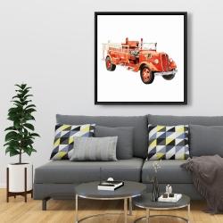 Framed 36 x 36 - Vintage fire truck