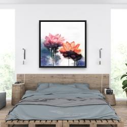 Framed 36 x 36 - Watercolor lotus flowers