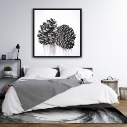 Framed 36 x 36 - Three small pine cones