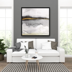 Framed 36 x 36 - Gold stripe abstract
