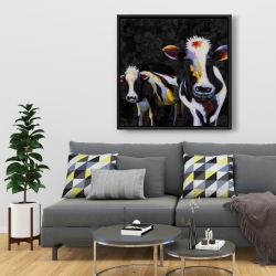 Framed 36 x 36 - Two funny cows victorian